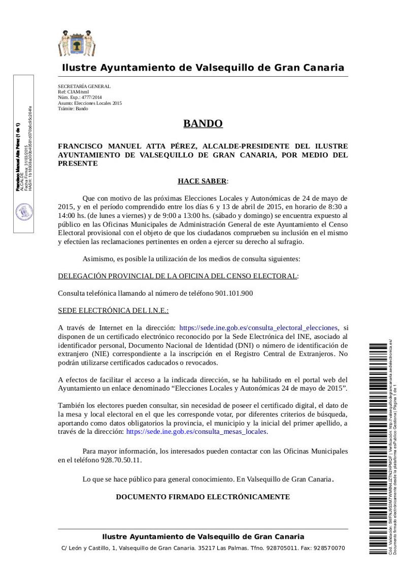 Exposici n p blica del censo electoral ayuntamiento de for Oficina del censo electoral