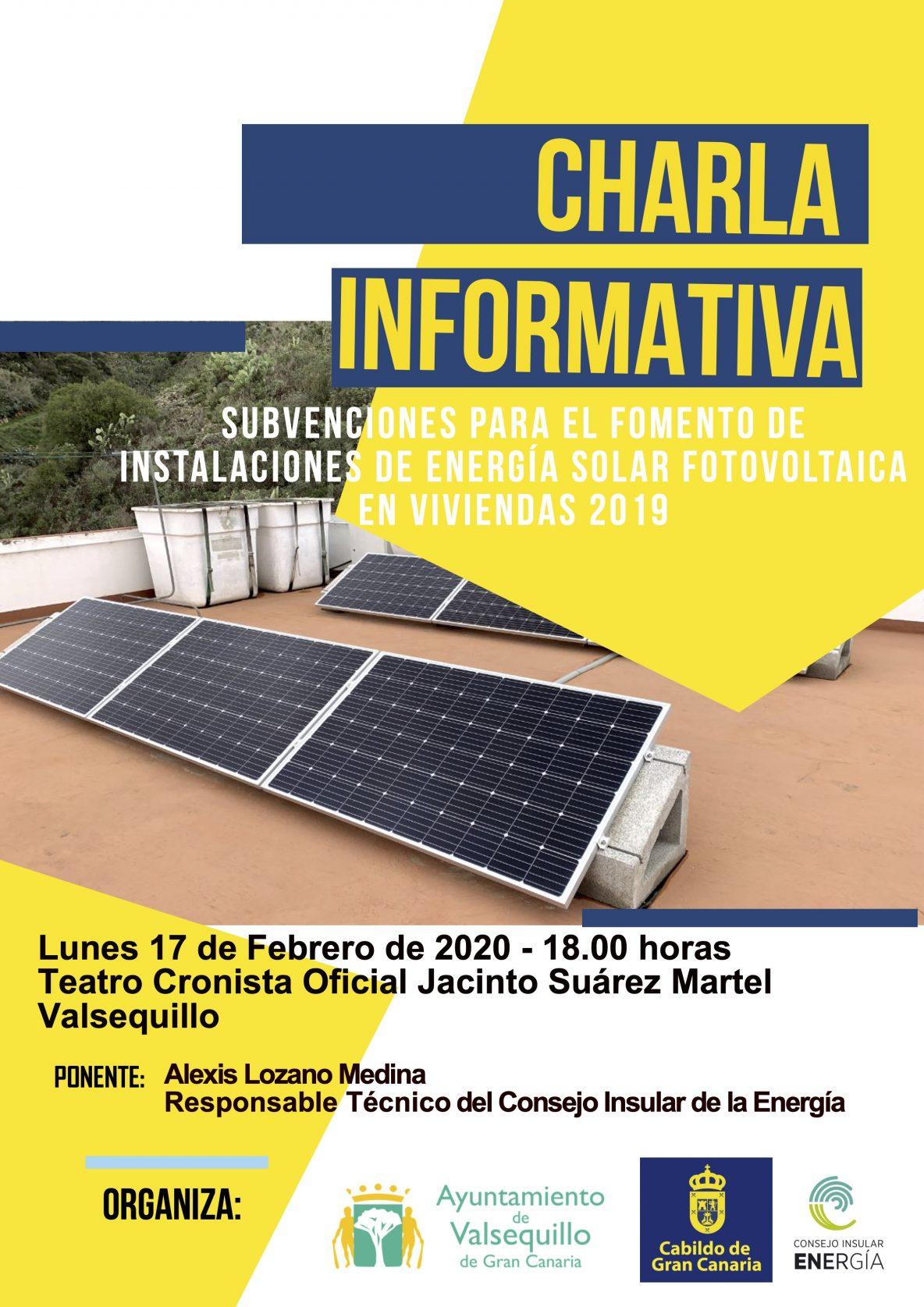 cartel charla subvenciones instalación placas fotovoltaica