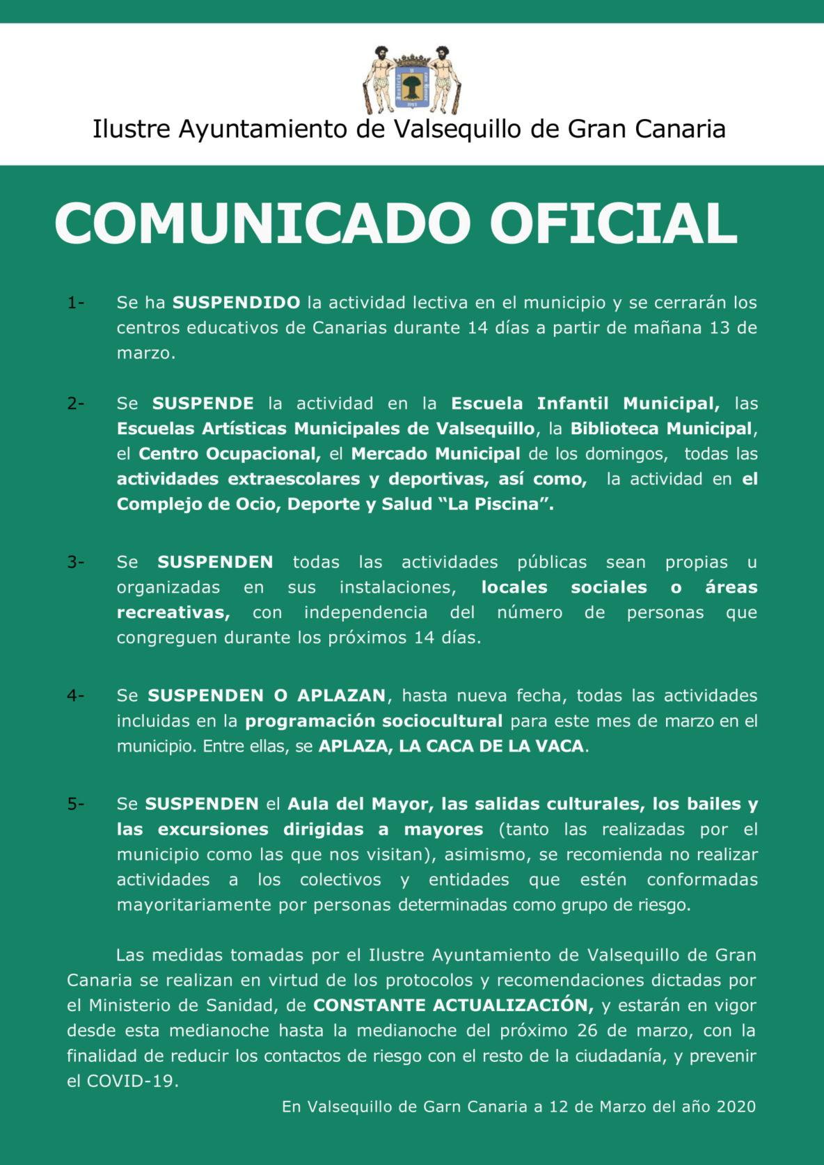 Comunicado oficial Ayuntamiento