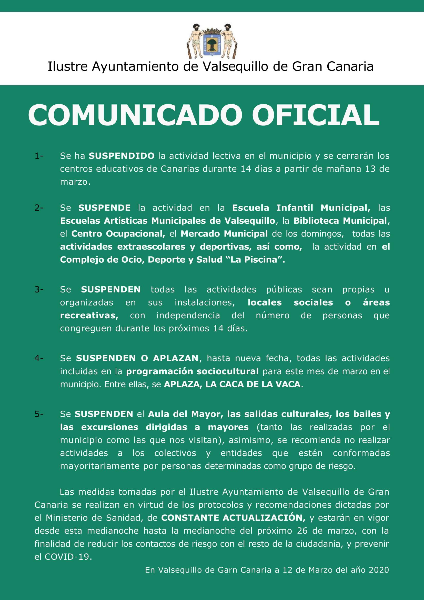 Comunicado Oficial Del Ilustre Ayuntamiento De Valsequillo De Gran Canaria Actualizado A Las 18 44hs Del 12 De Marzo De 2020 Ayuntamiento De Valsequillo De Gran Canaria