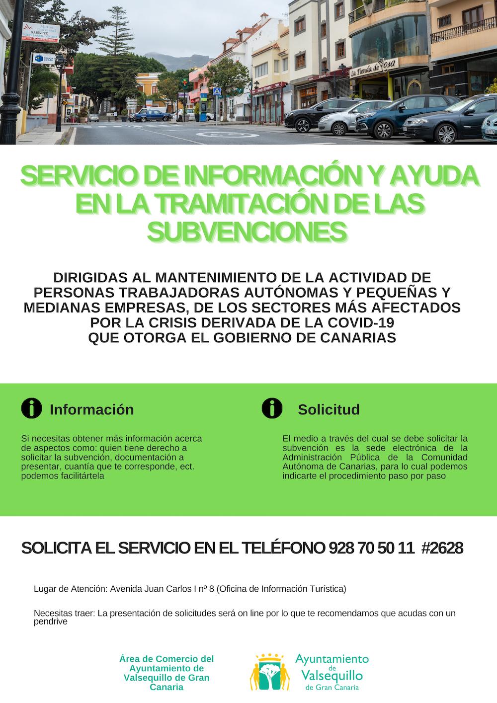 Cartel con información de ayudas a las empresas afectadas por la COVID-19