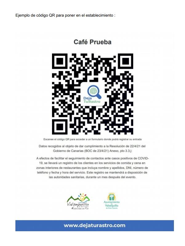 cartel con código QR de ejemplo