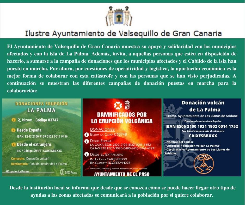 Cartel con datos para ayudar a La Palma con el volcán